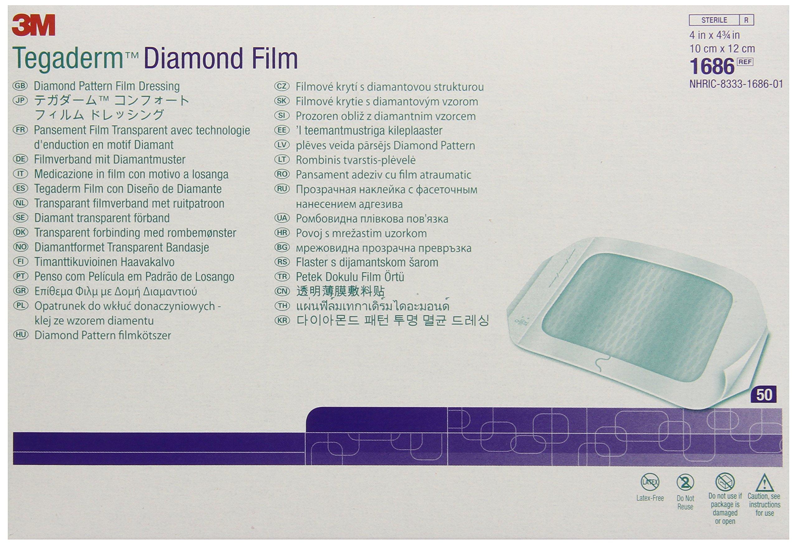 3M Tegaderm Diamond Pattern Film Dressing 1686 (Pack of 200)