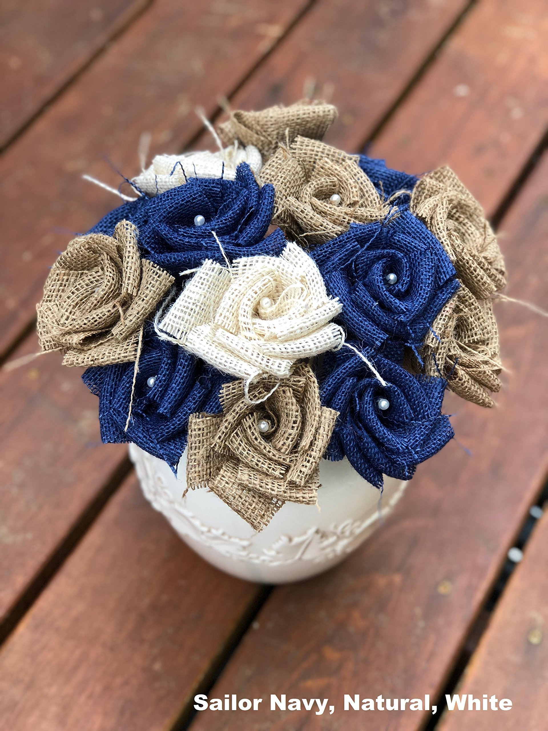 silk flower arrangements burlap flowers with stem 4 navy, 4 white, 4 natural (12 total) burlap rose flowers with stem wedding decor flowers rustic bouquet with wooden stems