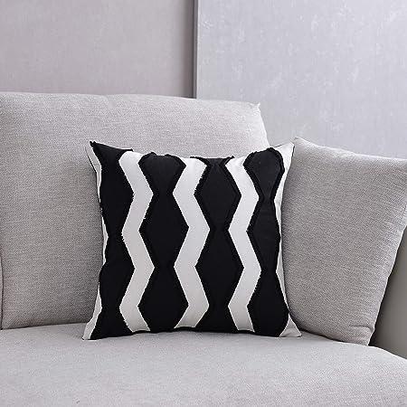 DOKOT Fundas de Cojín Decorativa Algodón Soft Cuadrado Fundas de Almohada Caso para Sofá Dormitorio Auto 45 x 45 cm Ola En Blanco y Negro: Amazon.es: Hogar