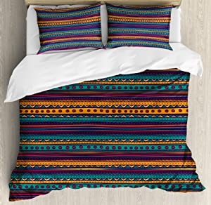 Ambesonne Tribal Duvet Cover Set, Striped Retro Pattern with Rich Mexican Color Folkloric Print, Decorative 3 Piece Bedding Set with 2 Pillow Shams, King Size, Teal Plum