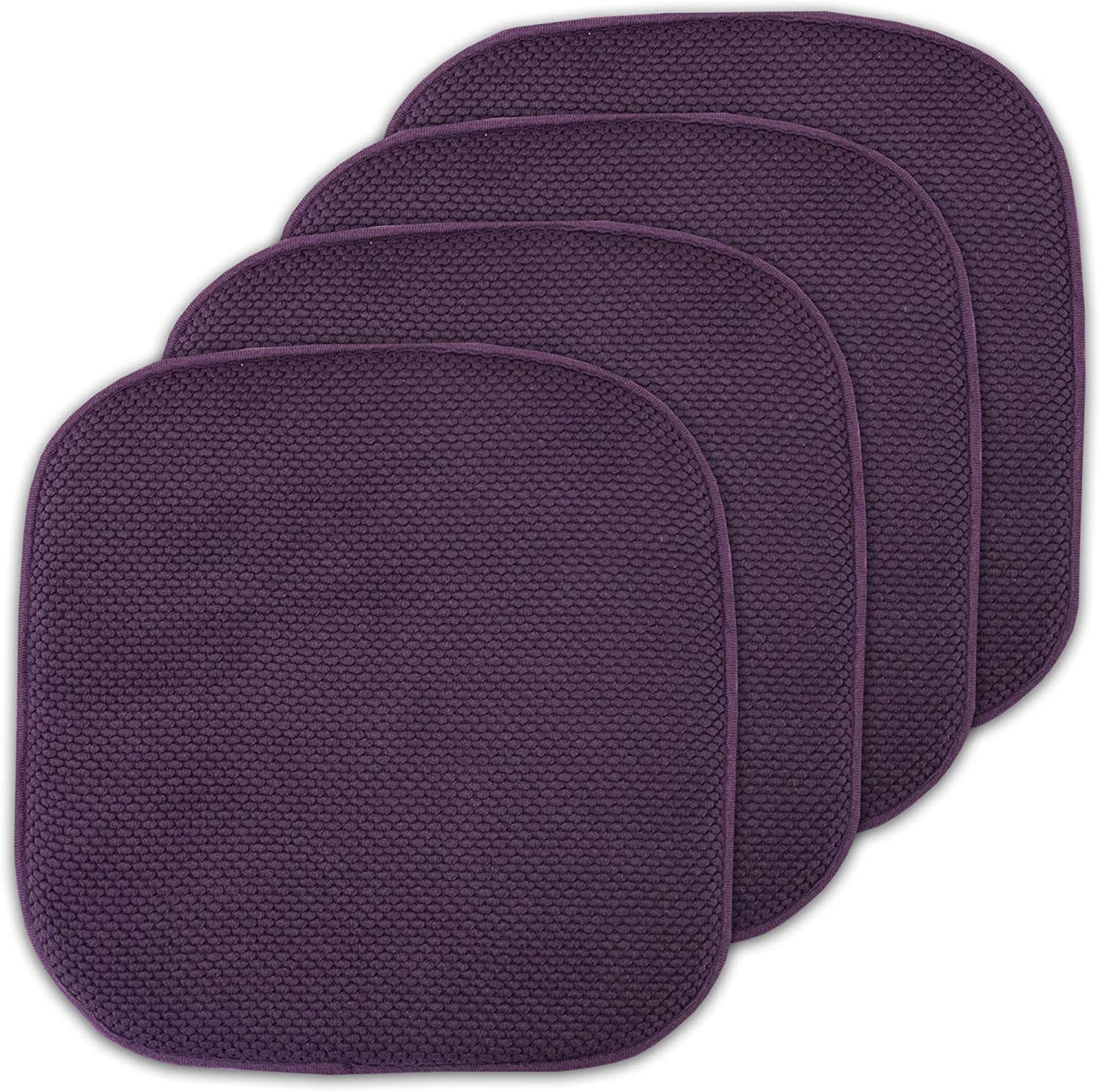 "Sweet Home Collection Cushion Memory Foam Chair Pads Honeycomb Nonslip Back Seat Cover 16"" x 16"" 4 Pack Eggplant Purple"