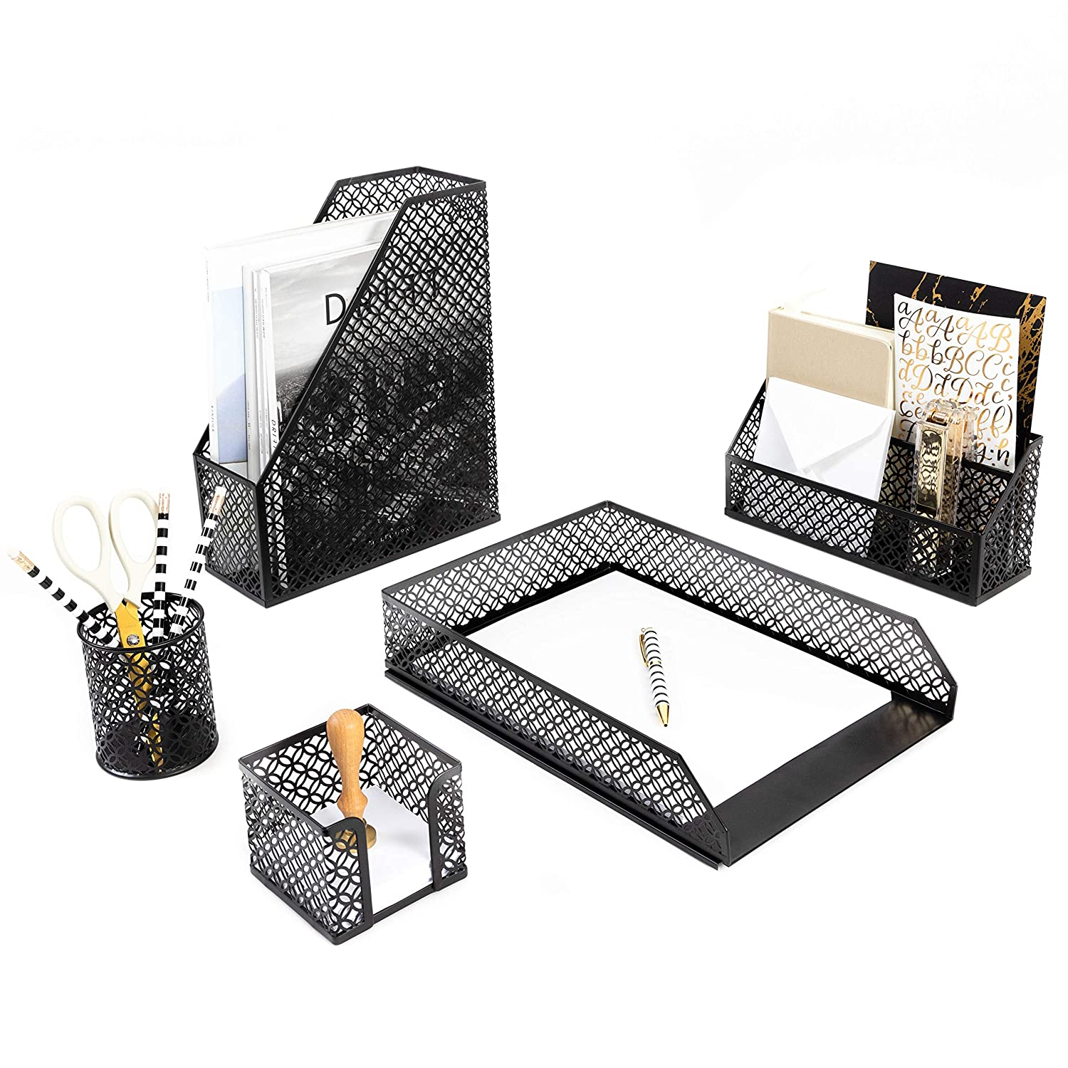 Blu Monaco Black Desk Organizer - 5 Piece Desk Accessories Set - Letter - Mail Organizer, Sticky Note Holder, Pen Cup, Magazine File Holder, Paper - Document Tray - Black