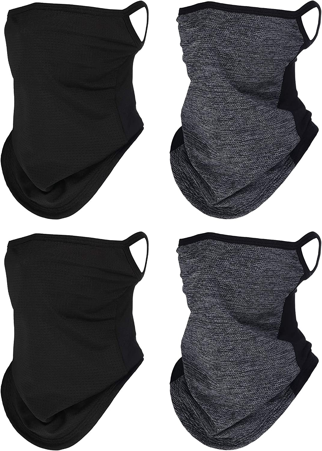 4 Pieces Neck Gaiter Face Covers with Ear Hangers Non-Slip Breathable Face Scarf UV Protection Balaclava Headwear