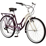 Schwinn Women's Sanctuary 7-Speed Cruiser Bicycle (26-Inch Wheels), Cream/Purple, 16-Inch