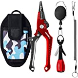 SAMSFX Aluminum Fishing Pliers Hook Remover Braid Line Cutter Split Ring Opener with Coiled Lanyard and Sheath, Fly Fishing K