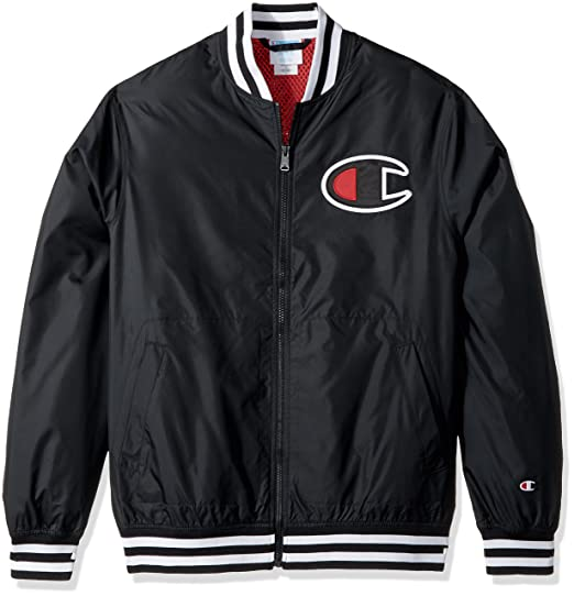 Champion LIFE Mens Satin Baseball Jacket, Black, X Small