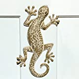 The Lucky Lizard, Island Style Tropical Gecko Wall Art, Distressed Finish, Beige with Rustic White, Lacquered Iron, Bas Relief Sculpture, 16 ½ Inches Long, By Whole House Worlds