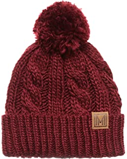 9aa0e382583c1 MIRMARU Winter Oversized Cable Knitted Pom Pom Beanie Hat with Fleece  Lining.