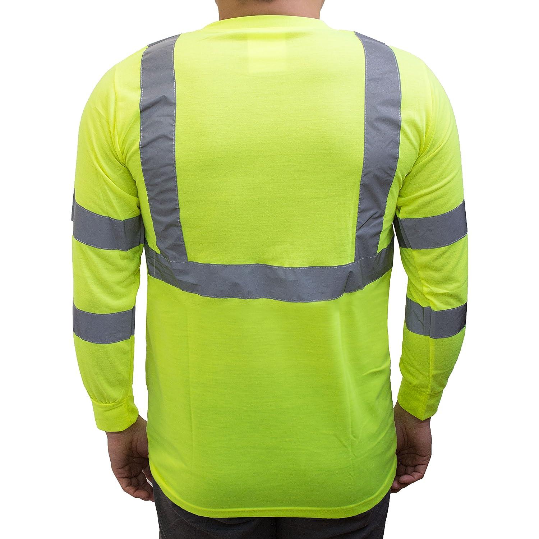 NY Hi-Viz Workwear L9091 Class 3 High Vis Reflective Long Sleeve ANSI Safety Shirt Extra Large, Orange
