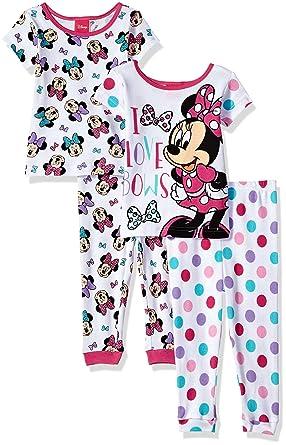06f6fac0a Amazon.com  Disney Girls Minnie Mouse 4-Piece Cotton Pajama Set ...