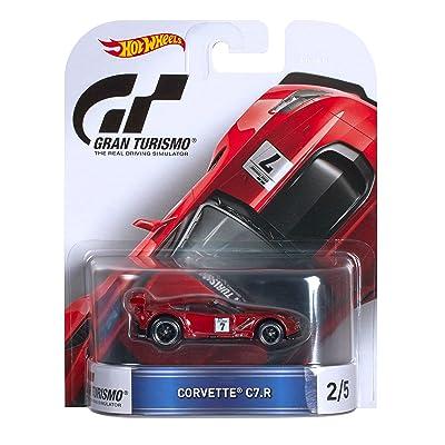 Hot Wheels Retro Entertainment Gran Turismo Corvette C7-R (Maroon) Die-Cast Vehicle 2/5: Toys & Games