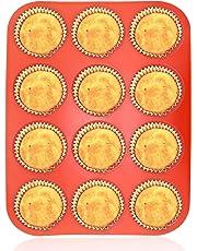 Philo Next Pan, de 12Taza Muffin Cupcake Back de Silicona Rojo tabletts Sartenes/Non Stick/lavavajillas de microondas Seguro, 32,7x 24,5x 2,8