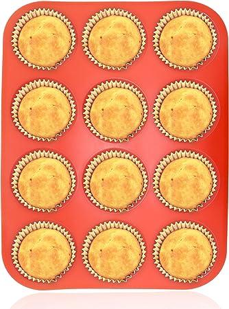 Philonext Pan - Bandeja roja de Silicona con 12 Huecos para ...