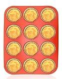 Philonext Moule ÀMuffins Et Cupcakes/Casserole À Muffins En Silicone À12-Cups Rétractable Antiadhésif Disponible pour Lave-vaisselle - Micro-ondes,Framboise