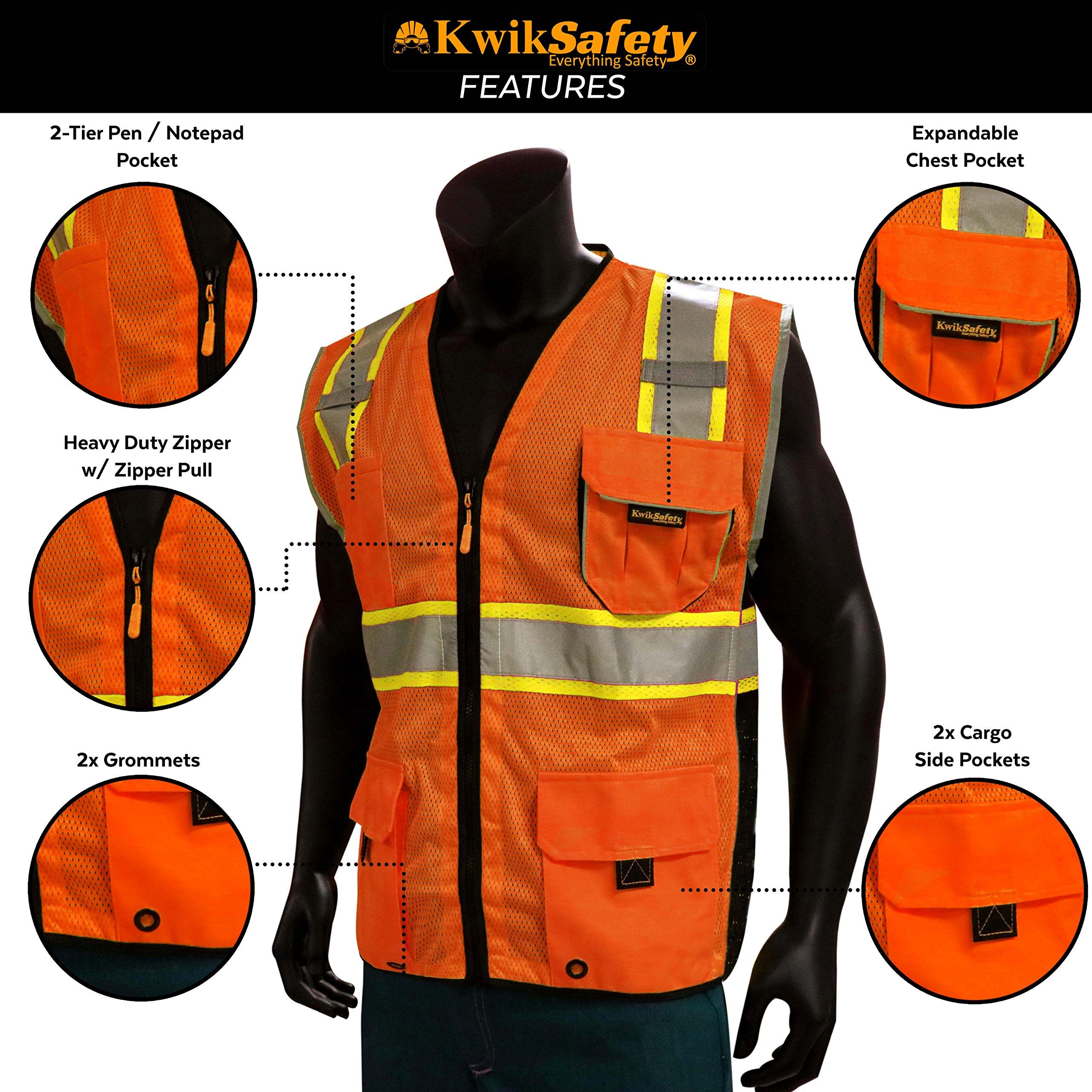 KwikSafety CLASSIC Safety Vest | Class 2 ANSI OSHA PPE | High Visibility Reflective Stripes, Heavy Duty Mesh with Pockets and Zipper | Hi-Vis Construction Work Hi-Vis Surveyor | Orange S/M by KwikSafety (Image #5)