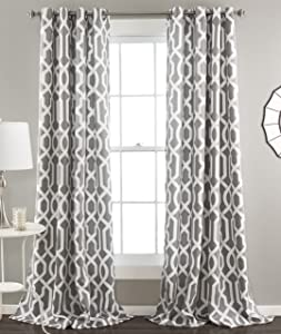 "Lush Decor Edward Trellis Curtains Room Darkening Gray Window Panel Set for Living, Dining, Bedroom (Pair) 84"" x 52"","