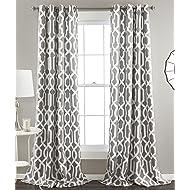 "Lush Decor Edward Trellis Curtains Room Darkening Gray Window Panel Set for Living, Dining, Bedroom (Pair), 84"" x 52"","