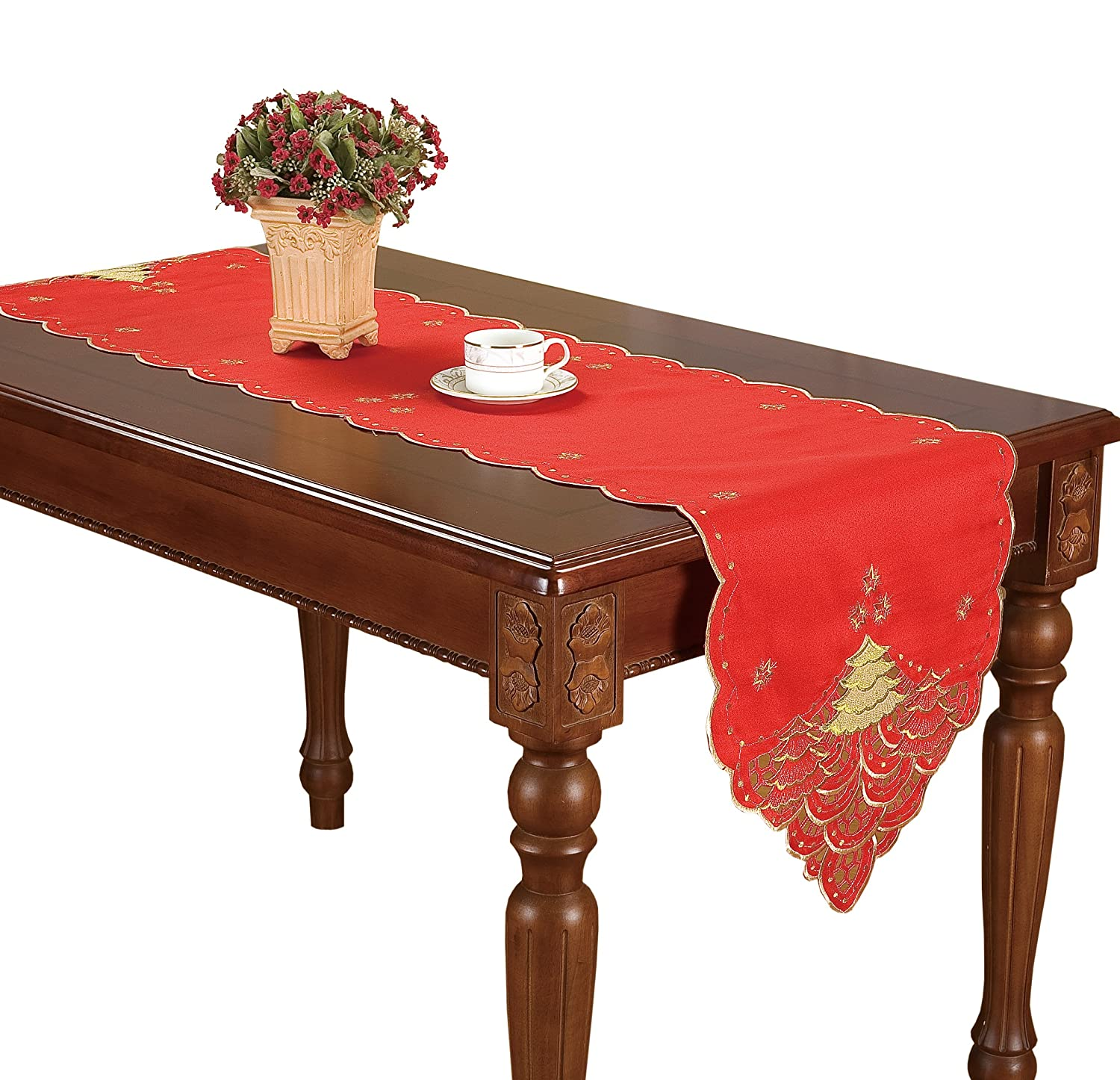 simhomsen christmas holiday red table runners embroidered. Black Bedroom Furniture Sets. Home Design Ideas