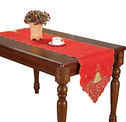 Simhomsen Christmas Holiday Red Table Runners Embroidered Gold Holly Tree  16 × 70 Inch