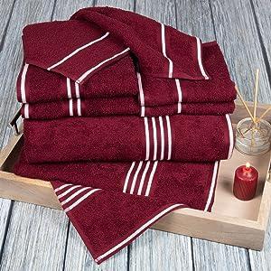 Lavish Home Rio 8 Piece 100% Cotton Towel Set - Burgundy
