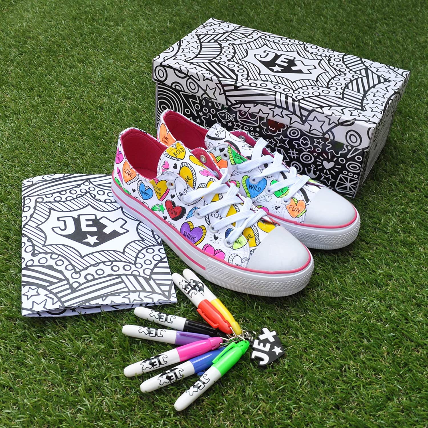 Jex Colour in Trainers JHEA400512 Positive Vibes Hearts Size 13.5 White