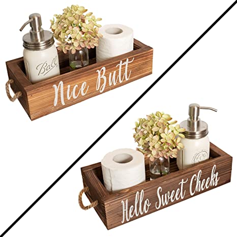 Amazon Com Nice Butt Bathroom Decor Box 2 Sides Funny Gift Funny Toilet Paper Holder Perfect For Farmhouse Bathroom Decor Toilet Paper Storage Rustic Bathroom Decor Or Diaper Organizer Brown Home