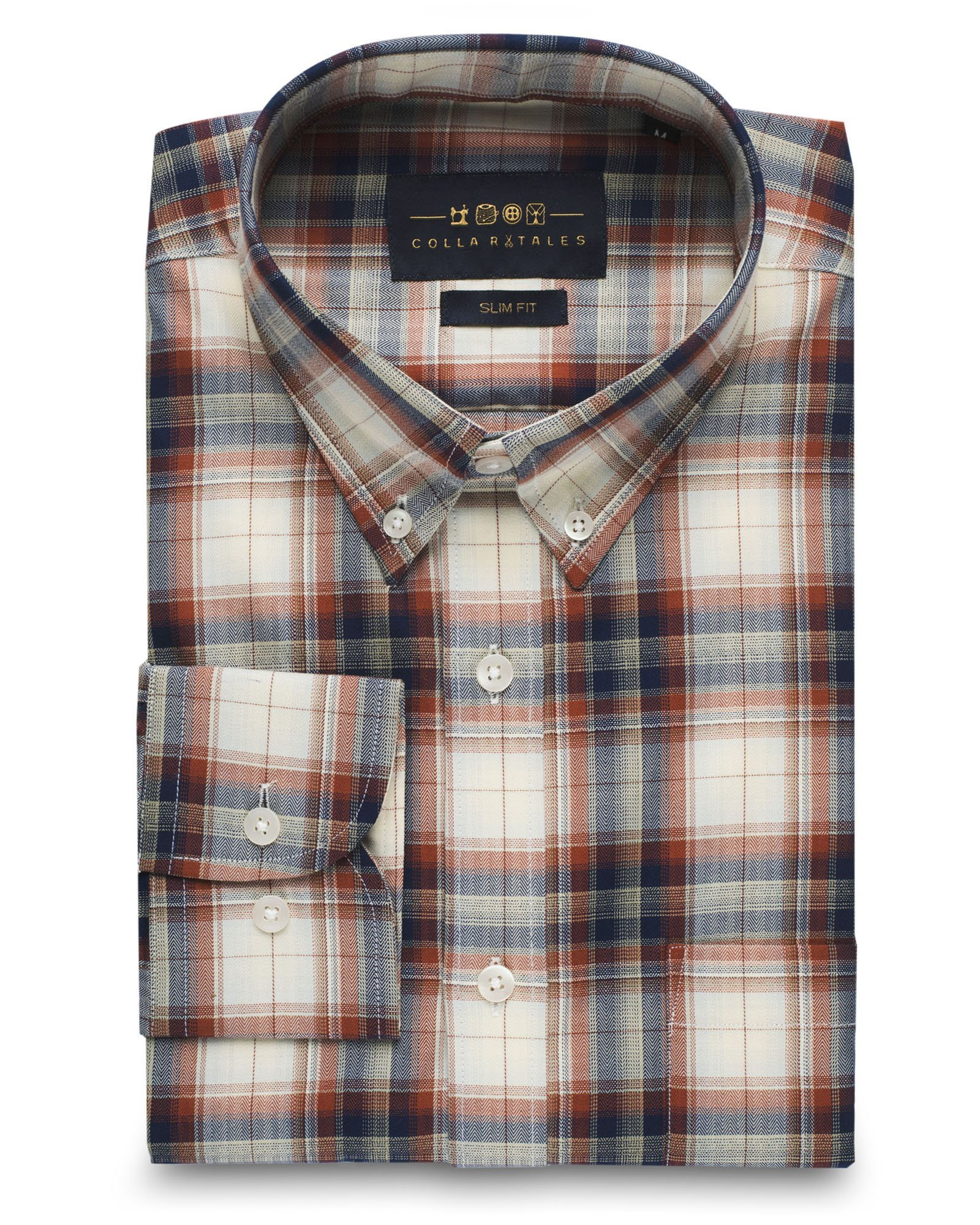 Collar Tales Men's Superfine Cotton Slim Fit Button Down Collar Long Sleeve Sport Shirt with Pocket - Cream & Red Check