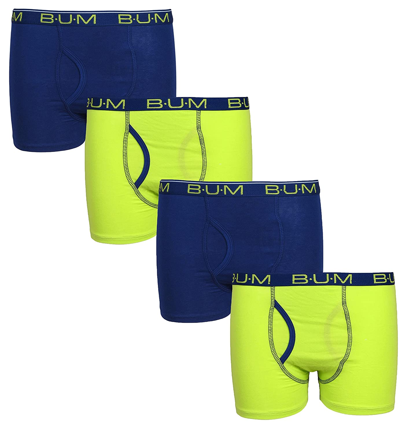 B.U.M. Equipment Boys 4 Pack Cotton Spandex Stretch Underwear Boxer Briefs (More Colors Available)