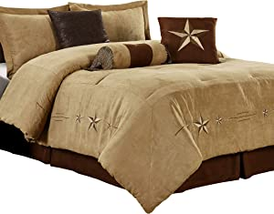 """Chezmoi Collection 7 Pieces Western Star Embroidery Design Microsuede Bedding Oversized Comforter Set (Queen 92"""" x 96"""", Coffee)"""