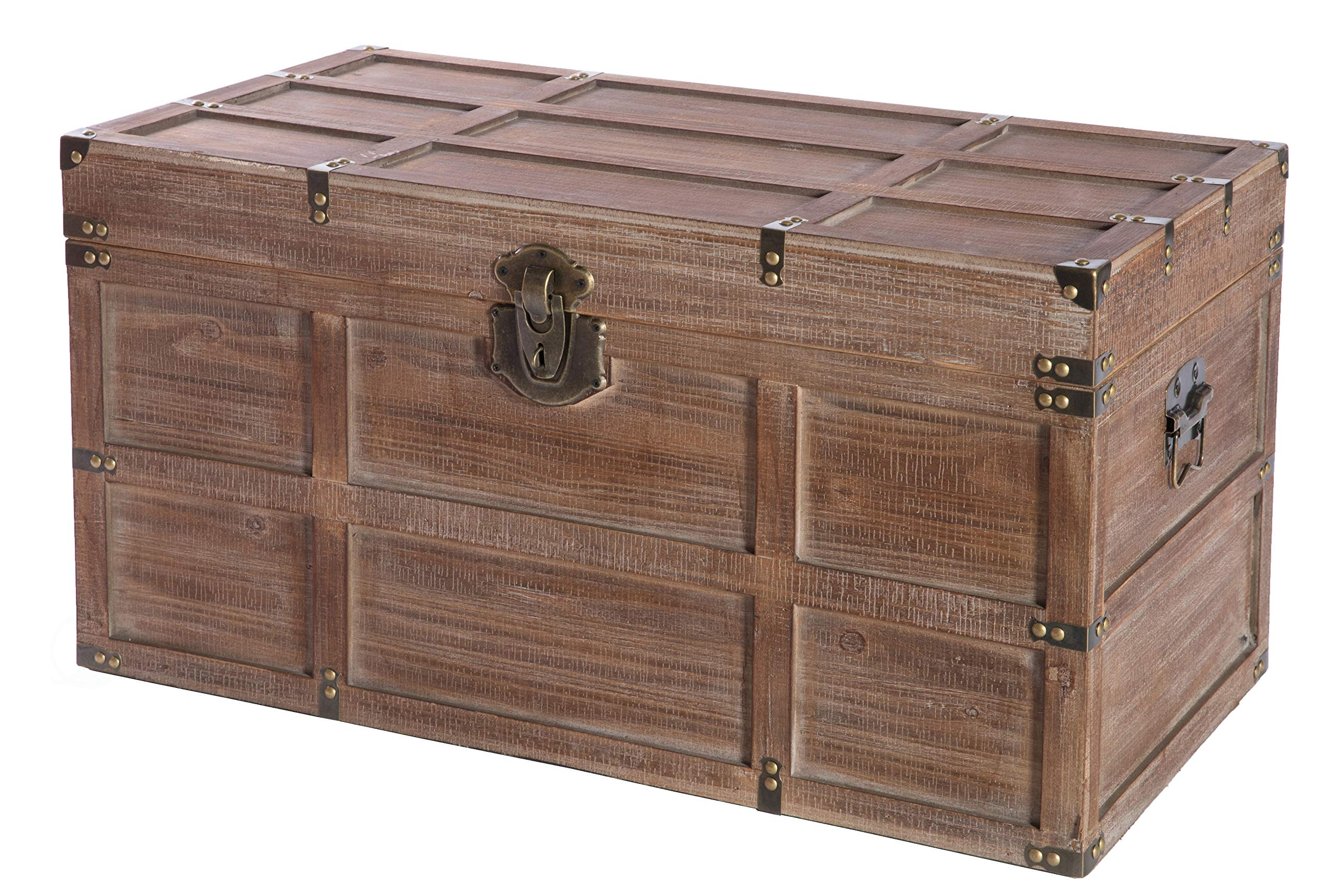 Vintiquewise Wooden Rectangular Lined Rustic Storage Trunk with Latch, Large, Brown by Vintiquewise