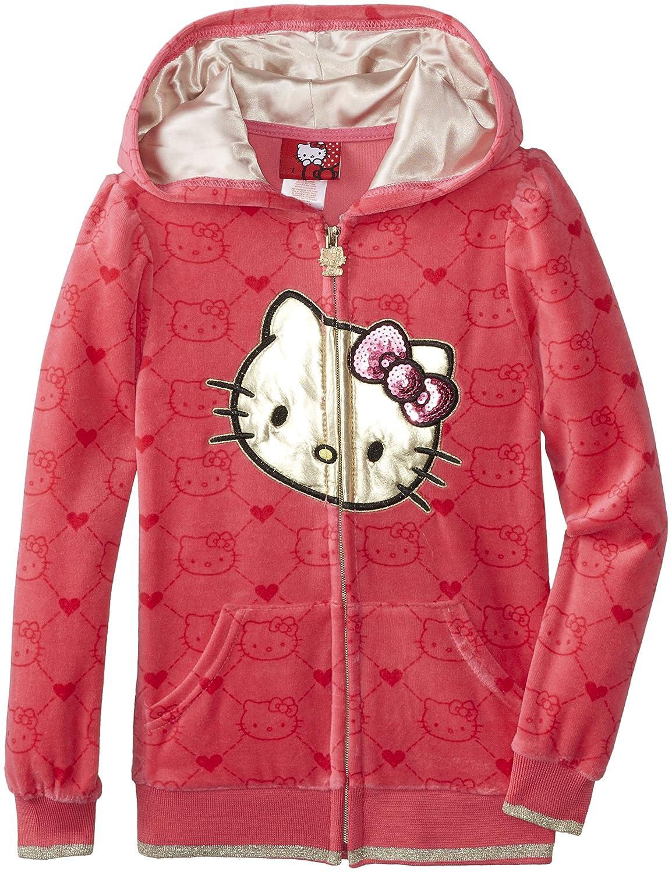 Hello Kitty Girls Velour Zip-Up Hoodie