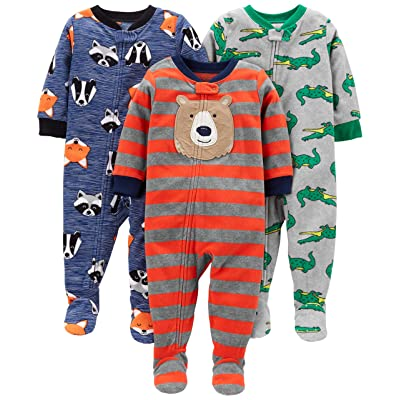 1a6fd362c4e7 Simple Joys by Carter's Baby and Toddler Boys' 3-Pack Loose Fit Fleece  Footed