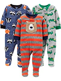 Simple Joys by Carter's Boys' Toddler 3-Pack Loose Fit Flame Resistant Fleece Footed Pajamas, Bear/Alligator/Fox/Racoon, 3T
