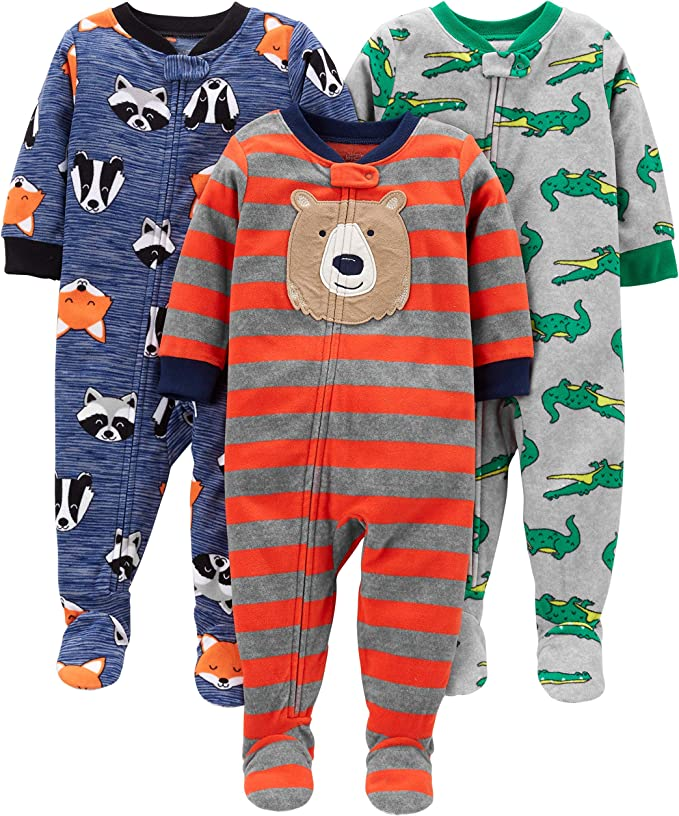 Simple Joys by Carters Baby and Toddler Pigiama in pile con piedini