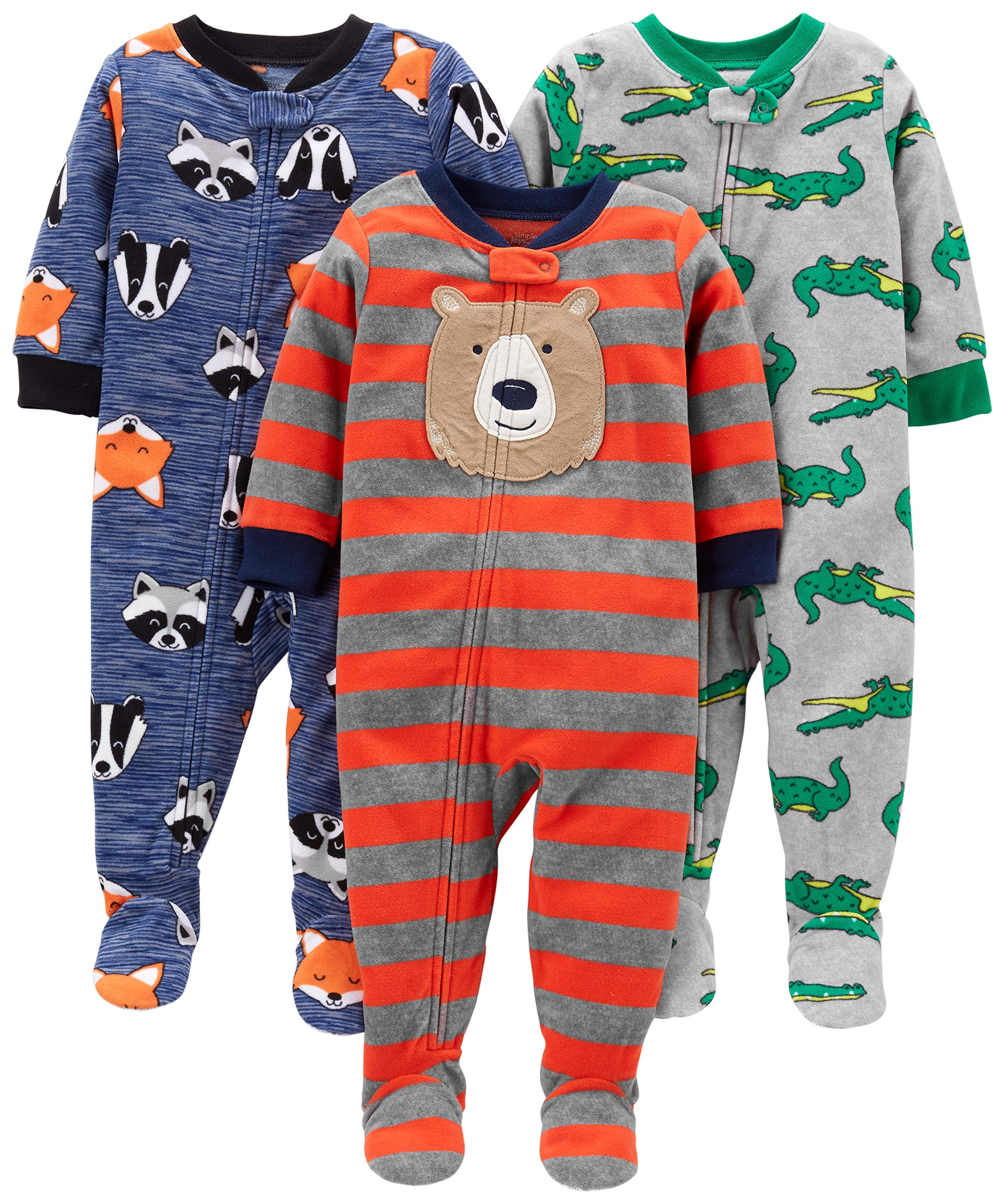 Simple Joys by Carter's Boys' 3-Pack Loose Fit Flame Resistant Fleece Footed Pajamas, Bear/Alligator/Fox/Racoon 18 Months