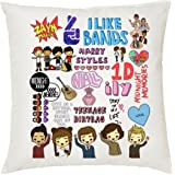 ShopTwiz Polyester One Direction (1D) Printed Cushion Cover with Cushion, 12-inch (Multicolour)