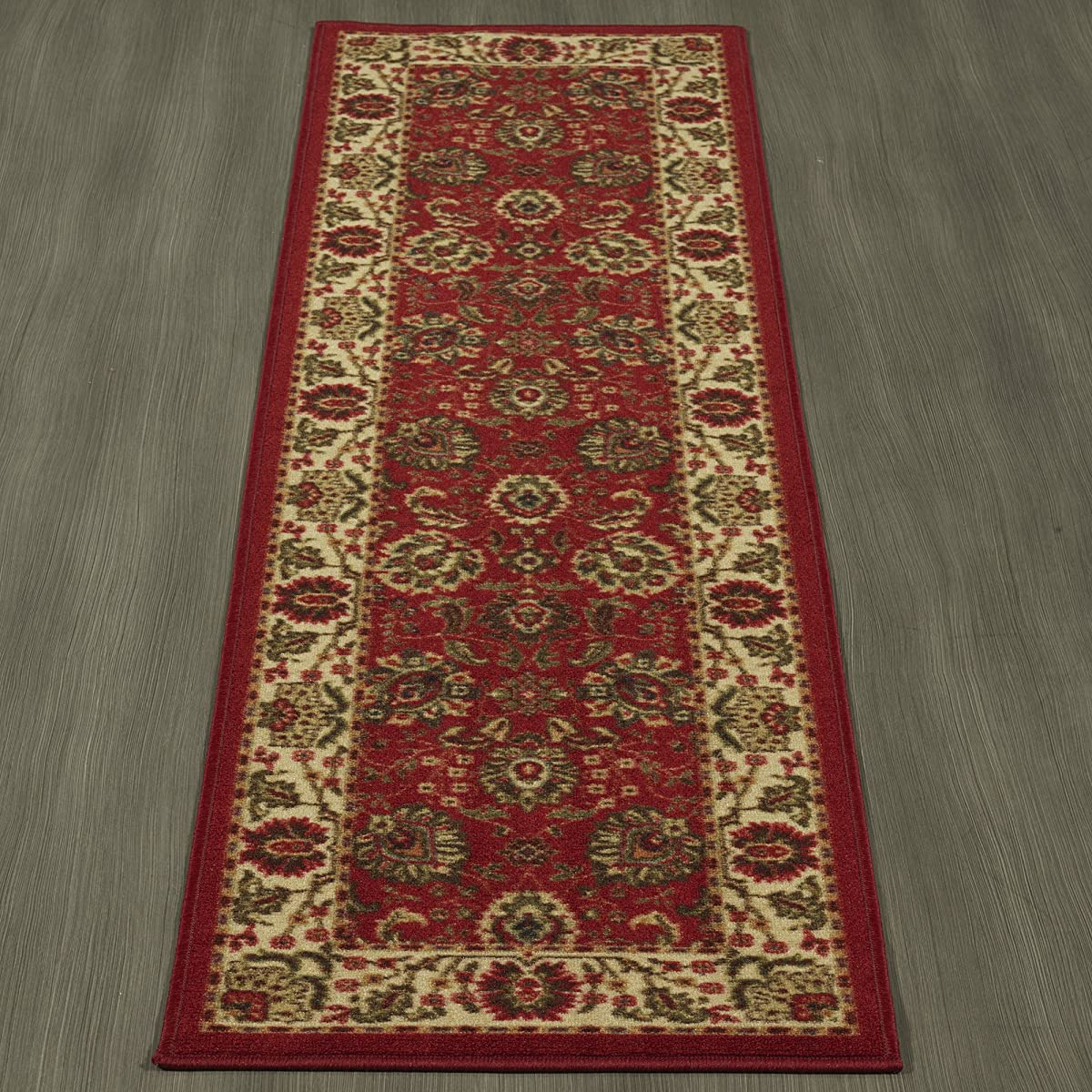 """Ottomanson Ottohome Collection Persian Style Rug Oriental Area/Runner Rug with Non-Skid (Non-Slip) Rubber Backing, 20"""" L x 59"""" W, Red"""