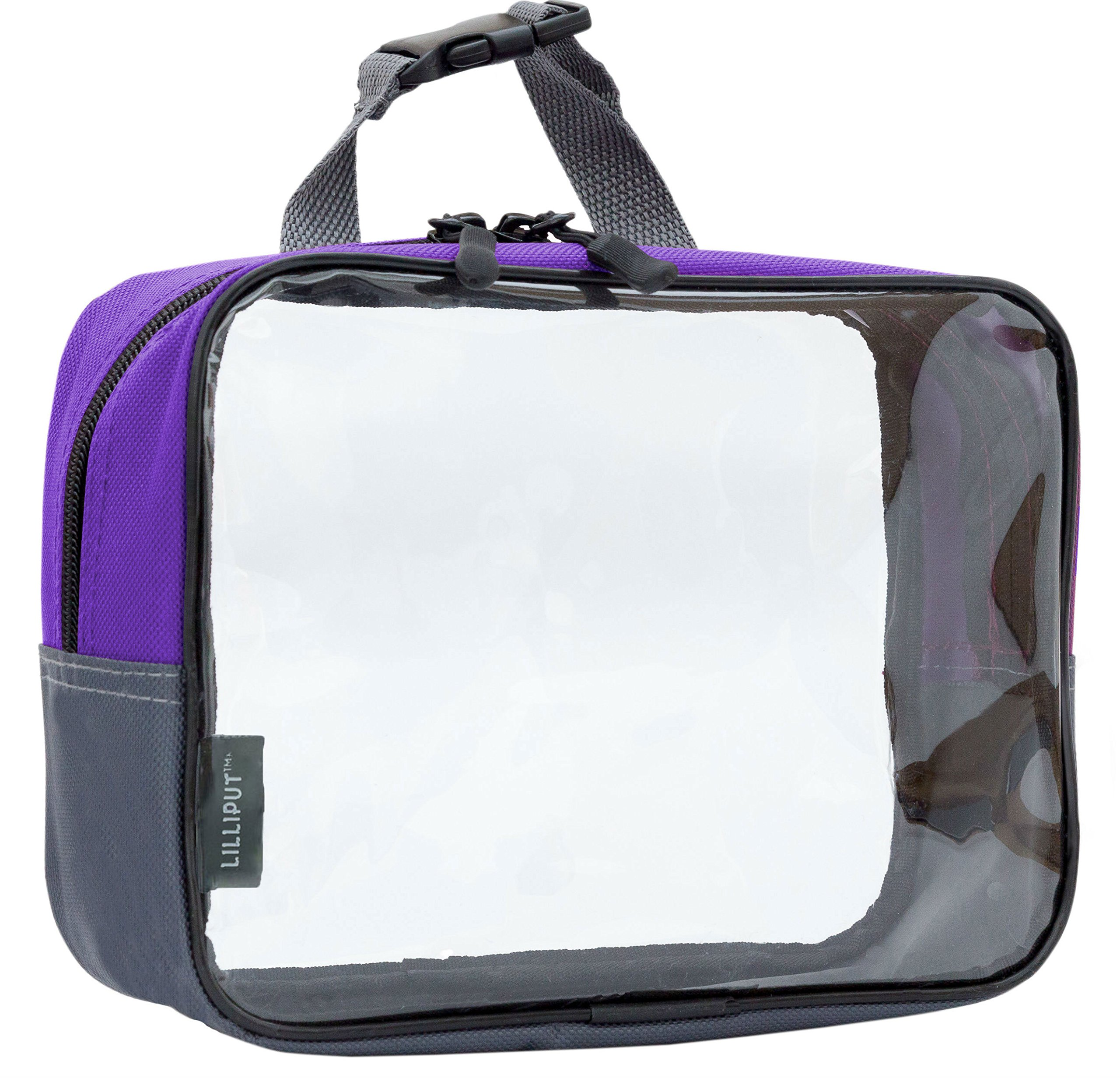 Clear Travel Toiletry Bag, Cosmetic Bag, Quart Sized Packing Organizer (Purple)