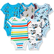 Rosie Pope Infant Baby 5 Pack Bodysuits, Party Animal, 6-9 Months