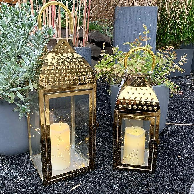 Mojawo Traumhaftes 3er Set Luxus XXL Gartenlaterne Edelstahl Windlicht Laternen Set H/öhe 38//57//78cm