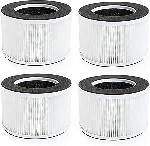 Flintar 3-in-1 True HEPA Replacement Filter, Compatible with hOmeLabs Home 4-in-1 Compact HEPA Air Purifier HME020020N, AKJ050GE, 4-Pack (4)