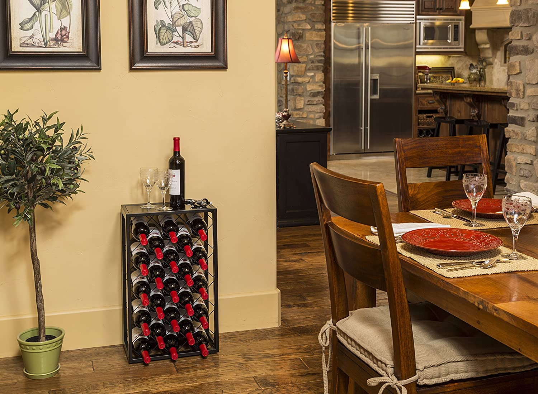 Amazon com mango steam 23 bottle wine rack with glass table top black