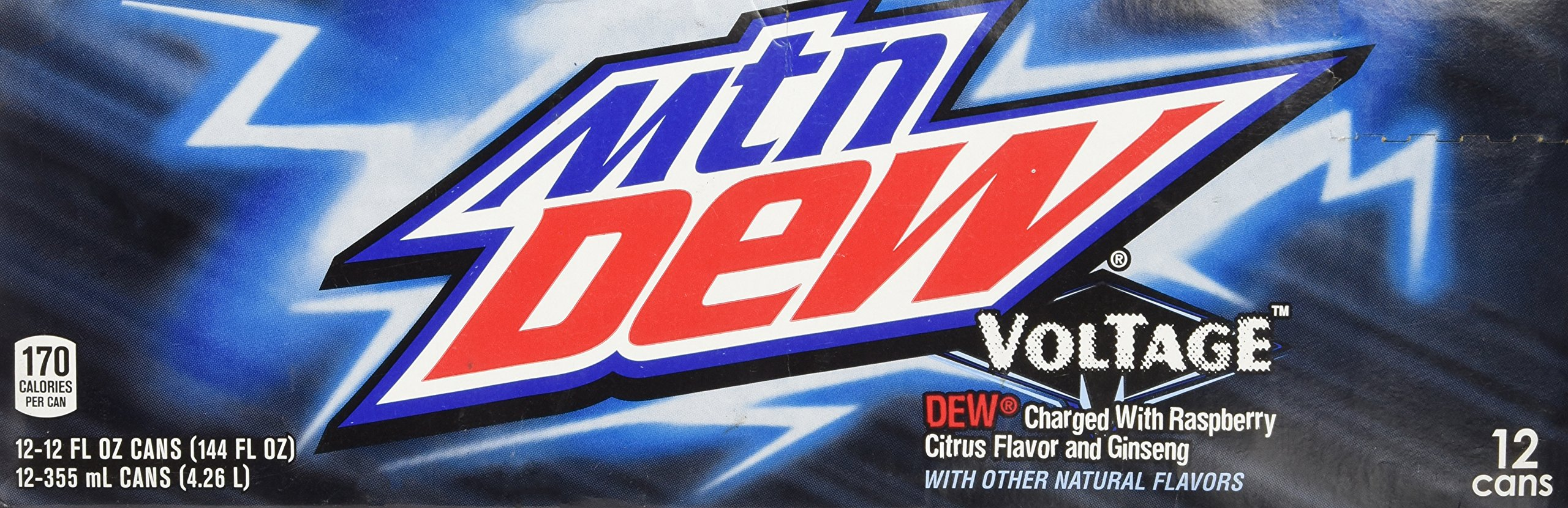 Mountain Dew Voltage Raspberry Ginseng Citrus Soda, 12 Ounce (12 Cans)