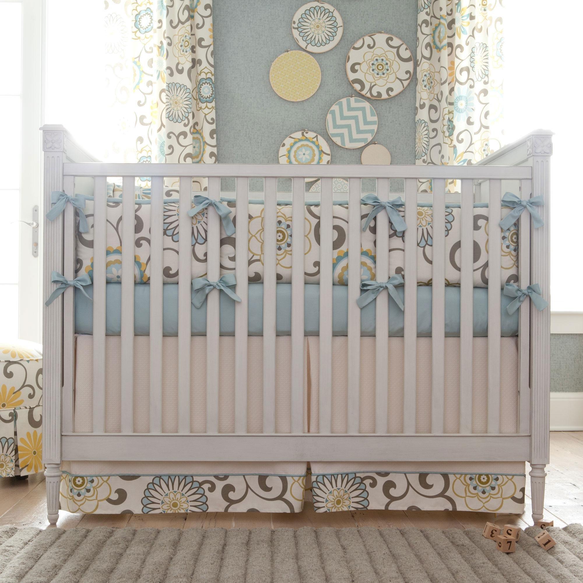 Carousel Designs Spa Pom Pon Play Crib Skirt Box Pleat 20-Inch Length
