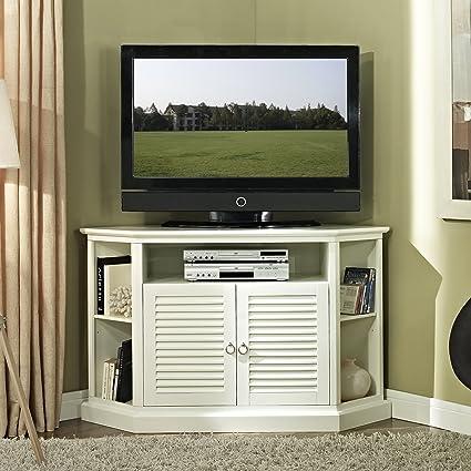 we furniture 52 wood corner tv stand console - Wood Corner Tv Stand