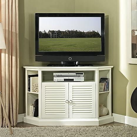 We Furniture 52 Wood Corner Tv Stand Console White