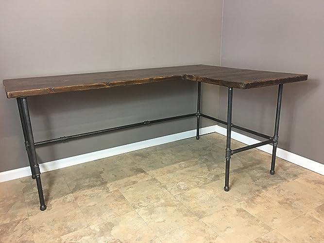 Modern Industry L Shape Reclaimed Wood Desk W/Industrial Gas Pipe Legs FREE  SHIPPING