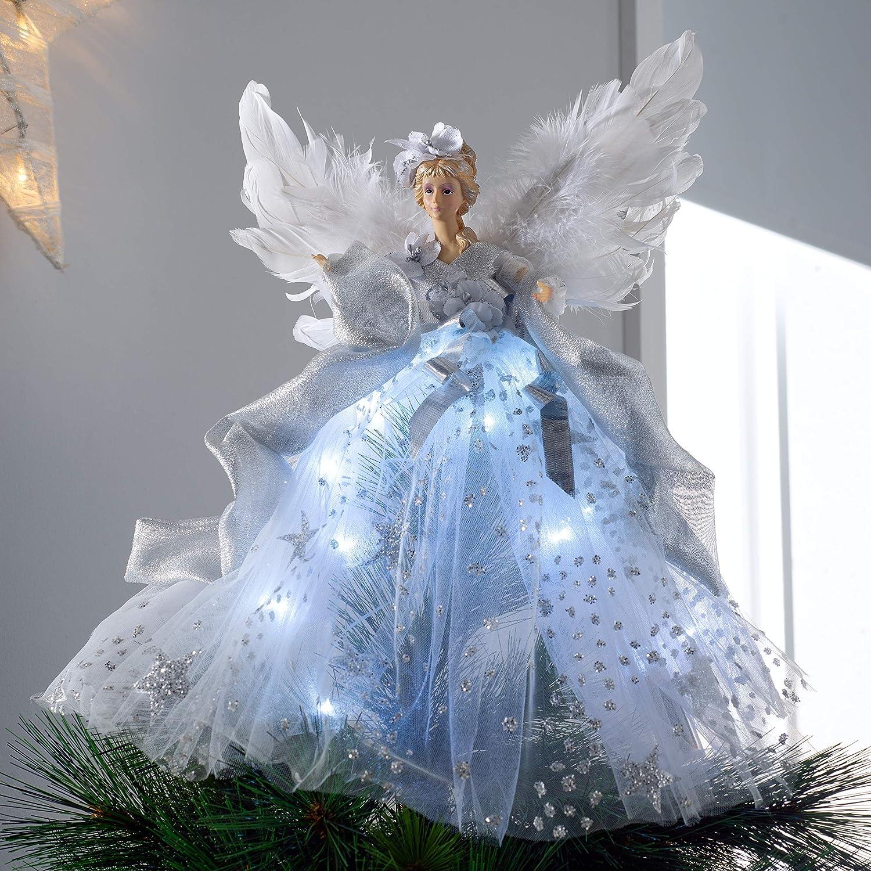 WeRChristmas Pre-Lit Christmas Angel Tree Topper 43cm Silver