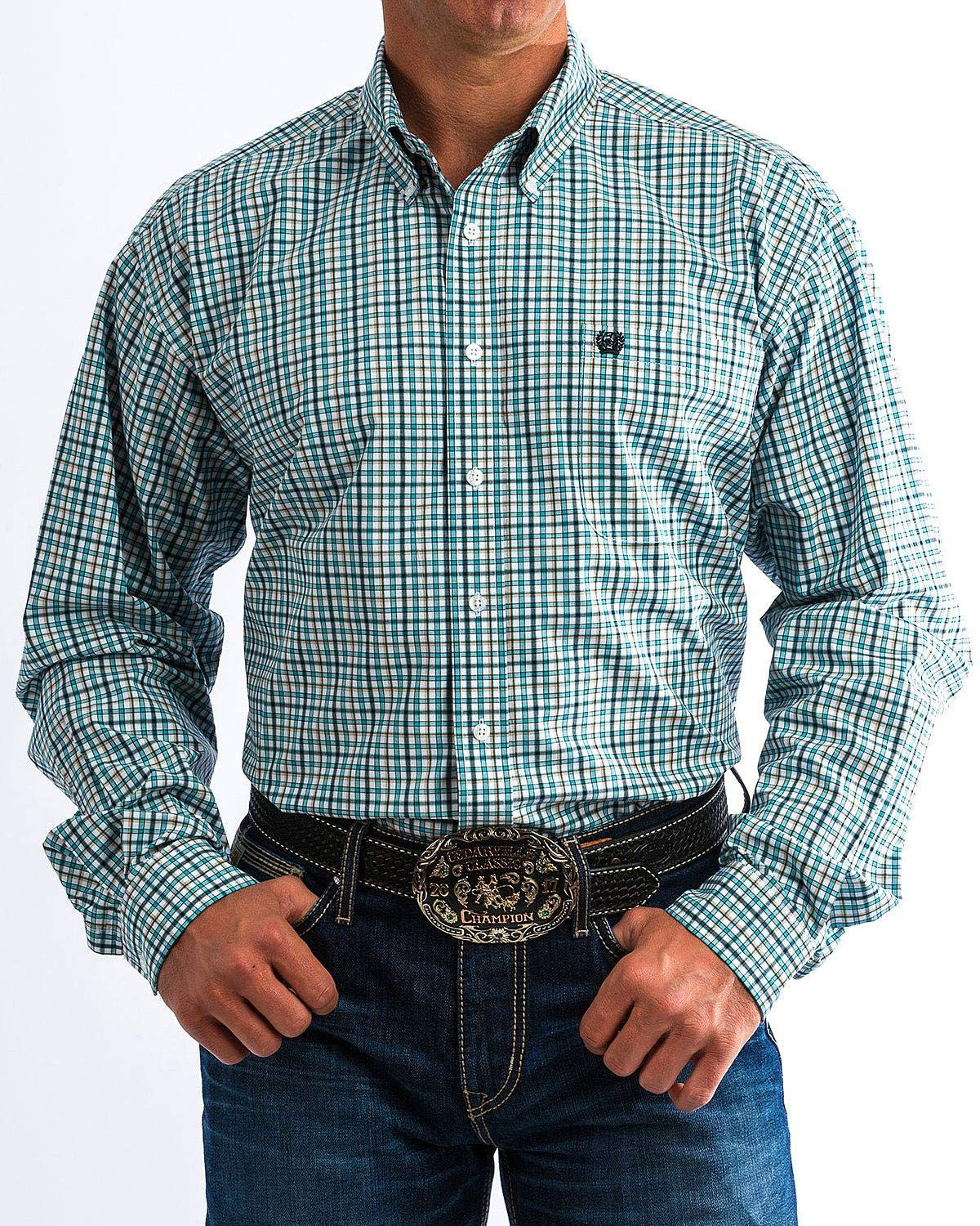 Cinch Men's Classic Fit Long Sleeve Button One Open Pocket Plaid Shirt, White/Teal, XXL