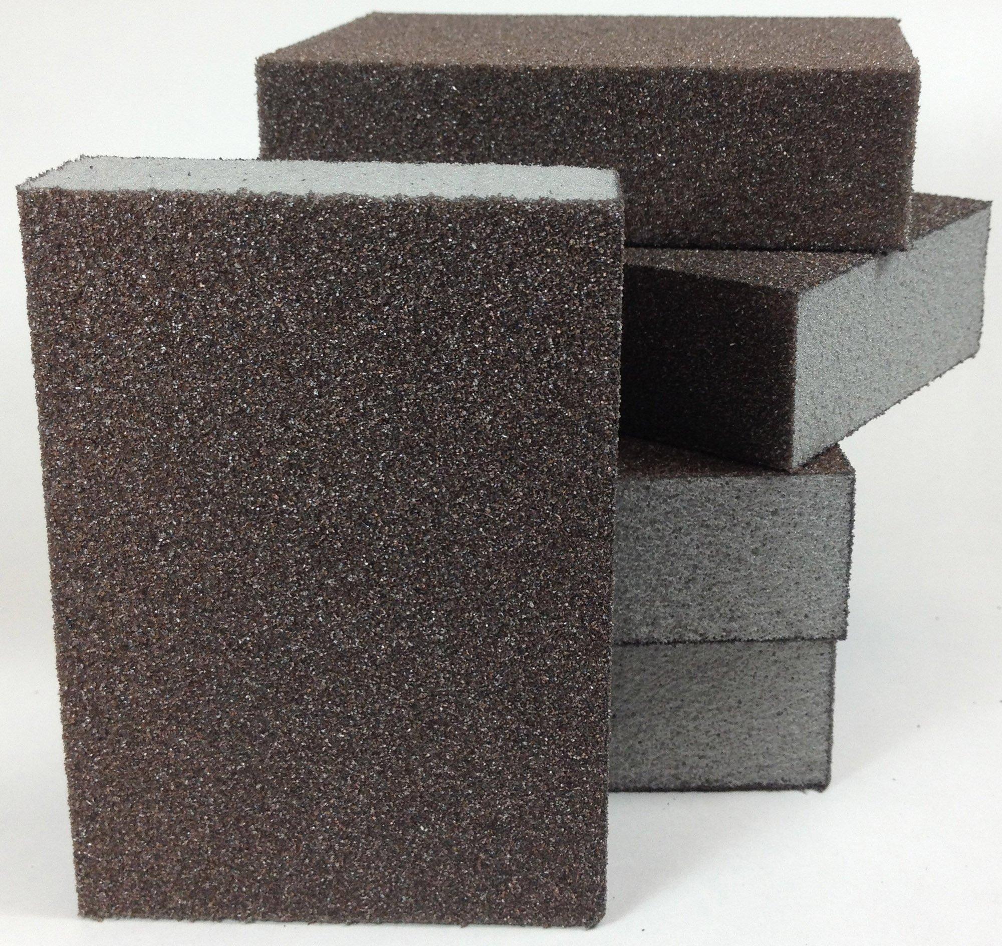 4 Sided Sanding Block, Pack of 5 Foam Block, Sponge Pad, Hand Sanding Tool (60 Grit Medium)